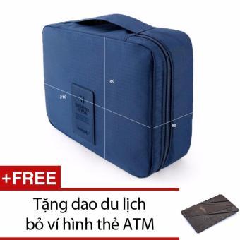 Túi du lịch đựng đồ cá nhân dành cho Nam + Tặng 1 dao du lịch bỏ ví hình thẻ ATM (Nâu)