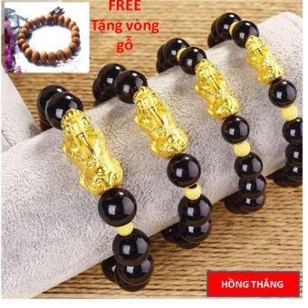 Vòng đeo tay tỳ hưu vàng 13 li - Phong thủy may mắn phát tài + Tặng vòng gỗ
