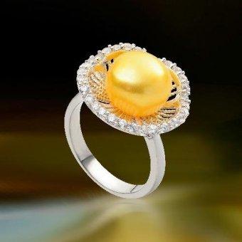 Nhẫn ngọc trai vàng, hoa mai HQJ