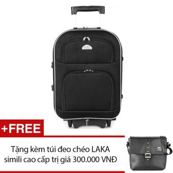 Vali du lịch kéo tay BiTi 24 inch(Đen) + Tặng 1 túi đeo chéo LAKA simili