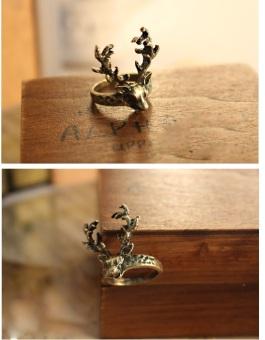 Nhẫn retro hươu tinh sảo, phong cách Hàn