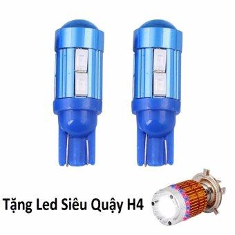 Bộ 2 led 10 tim cầu bi gắn xe máy (sáng xanh dương) + tặng Siêu Quậy H4