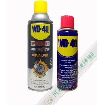 Combo chai xịt vệ sinh sên, chống rỉ WD-40 191ml và chai bôi trơn, bảo dưỡng WD-40 Chain Lube 360ml (nhập khẩu USA)