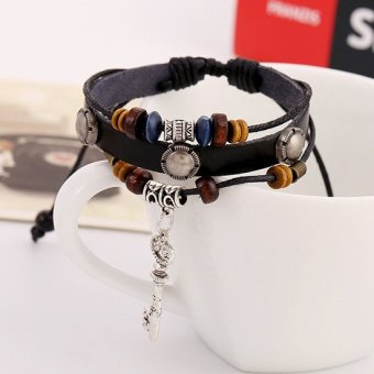 1pcs Fashion New Design Vintage Charm Key Beads Multilayer Leather Bracelet - INTL