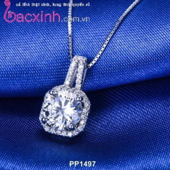 Bộ dây chuyền liền mặt trang sức bạc Ý S925 Bạc Xinh - Mặt vuông cá tính PP1497