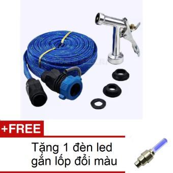 Vòi phun xịt nước rửa xe tưới cây đầu đồng dây 10m HQ 1TI66-2A (Xanh biển) + Tặng 1 đèn led gắn lốp đổi màu 1TI31