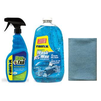 Bộ 1 Chai Dung Dịch Tẩy Vết Bẩn, Nhựa Đường 473ml + 1 Chai Rửa và Đánh Bóng Thân Xe Ô Tô 1.89L Rain-X + 1 khăn lau xe