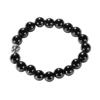 Magnetic Hematite Bead Bracelet with Silver Buddha (Intl)