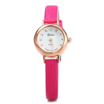 Đồng hồ nữ dây da tổng hợp Yuhao YU002-4 (Hồng đậm)