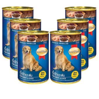 Combo 6 Thức ăn SmartHeart đóng hộp từ thịt gà & gan dành cho chó - 400gm