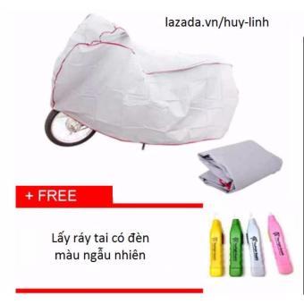 Bạt che phủ xe máy cao cấp chống nước ( Ghi ) + Free dụng cụ lấy ráy tai có đèn màu ngẫu nhiên