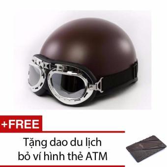 Mũ bảo hiểm 1/2 đầu hình gấu kính + Tặng dao đa năng hình thẻ ATM