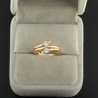 Decent Dual Diamante Finger Ring Lady Crystal 18K Gold Filled - Intl
