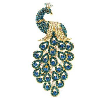 Vintage Alloy Peacock Bird Blue Rhinestone Crystal Bird Gold-plated Brooch Pin - intl