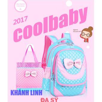 Ba lô học sinh kiểu dáng Hàn Quốc đảm bảo sức khỏe cho bé - ba lô Khánh Linh 02 (xanh viền hồng)
