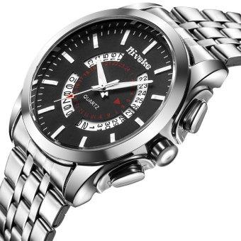 Đồng hồ nam dây hợp kim Niveke NE002-2 (Bạc mặt đen)