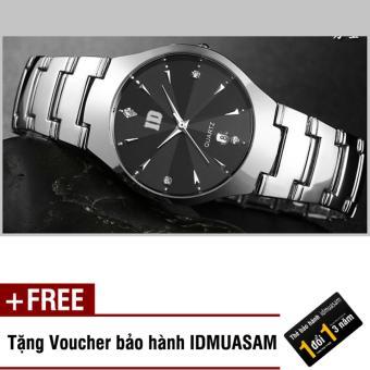 Đồng hồ nam dây thép không rỉ mặt kính khối cao cấp ID S0111 (Mặt đen) + Tặng kèm voucher bảo hành IDMUASAM