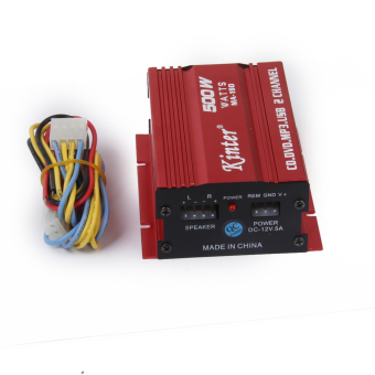 Red Mini Car Motorcycle MP3 Hi-Fi Stereo Audio Amplifier with Cable Wires - Intl