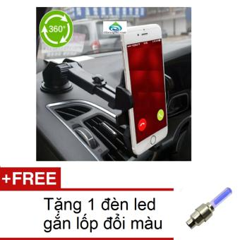 Giá đỡ kẹp điện thoại trên xe hơi, ô tô điều chỉnh thông minh HQ 2TI65 + Tặng 1 đèn led gắn lốp đổi màu 1TI31