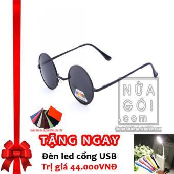 Mắt kính kiểu thầy bói F661 (Tròng đen) + Tặng đèn LED cổng USB