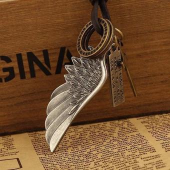 Vòng cổ dây da nam hình cánh chim vintage handmade