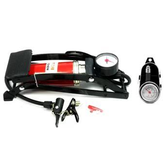 Bộ 1 bơm hơi đạp chân đơn thiết kế mới và 1 đồng hồ đo áp suất lốp xe cơ Senviet