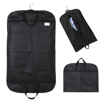 Black Suit Dress Coat Garment Storage Travel Carrier Bag Cover Hanger Protector - intl