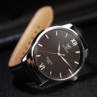 Đồng hồ dây da nam chống nước 318 (Đen)