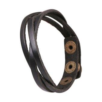 Moonar Women Braided Faux Leather Handmade Bangles Wrap Bracelets A - Intl