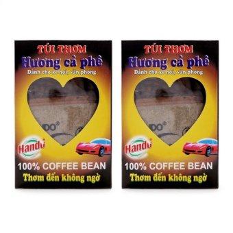 Bộ 2 Hộp túi thơm Hương cà phê 100g khử mùi xe hơi TI230