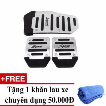 Ốp chân phanh, côn, ga ô tô số sàn (Trắng Inox) + Tặng 1 khăn lau xe chuyên dụng