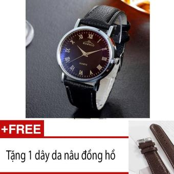 Đồng hồ nam dây da mềm sợi tổng hợp SD001 (Đen) Tặng dây da màu nâu