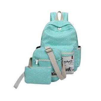 Bộ ba ba lô + túi đeo chéo + ví nhỏ NVPRO thời trang (Xanh ngọc)