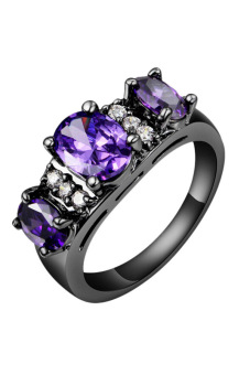 Fancyqube Black Gold Filled Sapphire Engagement Ring Purple (Intl)