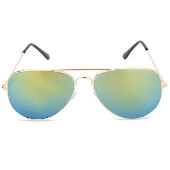 Unisex Frog Mirror Sunglasses Stylish Color Coated Metal Frame (Gold) - intl