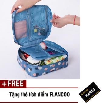 Túi đựng mỹ phẩm đi du lịch Flancoo 3641 (Xanh dương) + Tặng thẻ tích điểm Flancoo
