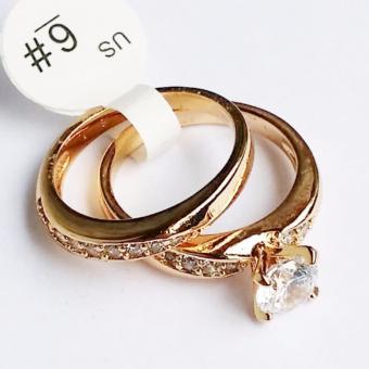 Nhẫn đôi Lamia đính đá pha lê hình kim cương sang trọng (LANHA008)