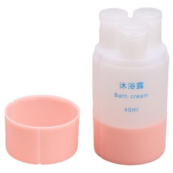 LALANG 3PCS Portable Travel Cosmetic Bottle Set Lotion Shampoo Containers (Pink)