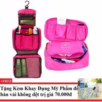 Bộ túi đựng đồ cá nhân du lịch và túi đựng đồ lót du lịch (Hồng) + Tặng kèm khay đựng mỹ phẩm để bàn