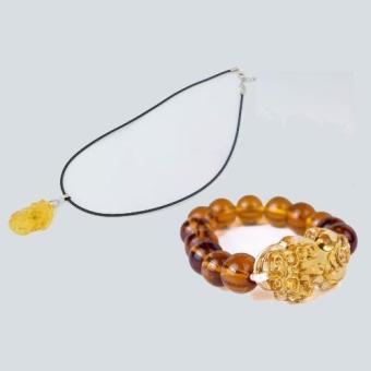 Bộ Vòng tay Tỳ Hưu đá tự nhiên may mắn 13 viên Vàng(Vàng)+Dây Chuyền Tỳ Hưu Thạch Anh Vàng