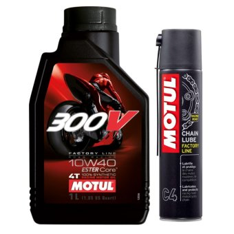 Bộ nhớt cho xe mô tô phân khối lớn Motul 300V Factory Line 10W40 1L và chai xịt bôi trơn Motul C4 400ml