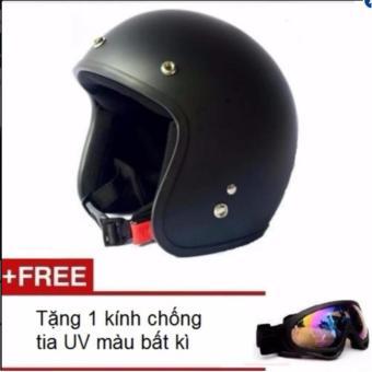 Mũ bảo hiểm 3/4 đầu dành cho phượt thủ + Tặng 1 kính chống tia UV màu bất kì