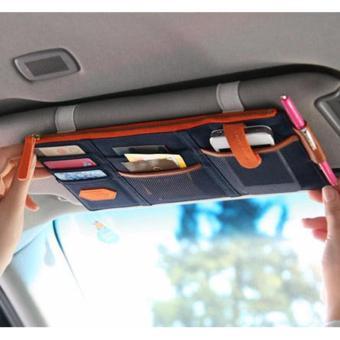 Ví đựng giấy tờ, thẻ, điện thoại...trên xe ô tô K78 (Xanh viền cam)