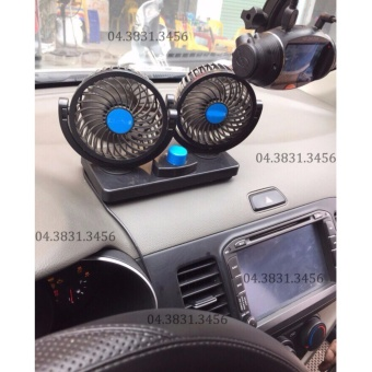 Quạt máy đôi mini 12V trên ô tô, xe hơi xoay 360 độ (Đen)