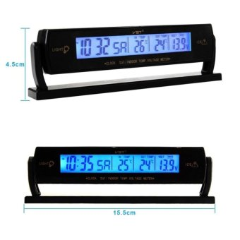 Auto Car Voltage Digital LCD Temperature Thermometer Alarm Clock New GD - INTL