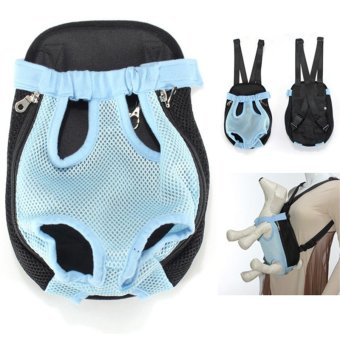 Nylon Pet Puppy Dog Carrier Backpack Front Tote Bag Net Bag XL Blue - intl