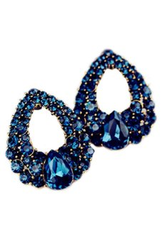 Bluelans Crystal Waterdrop Eardrops Earrings (Blue)