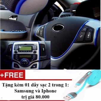 Cuộn dán viền trang trí nội thất xe hơi (màu xanh) + Tặng dây sạc điện thoại 2 trong 1 cho Iphone và Samsung