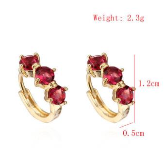 Fashion Jewelry Luxury Cute Red CZ Crystal 18K Gold Plated Hoop Earrings
