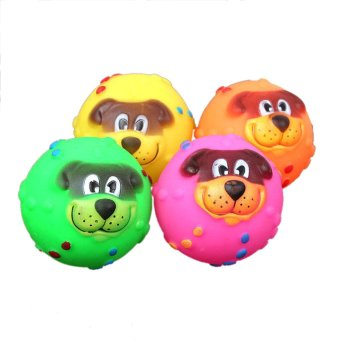 Mua BolehDeals Cartoon Dog Vinyl Giggle Ball Tough Treat Training Chewing Toy Squeaky Ball - Intl giá tốt nhất